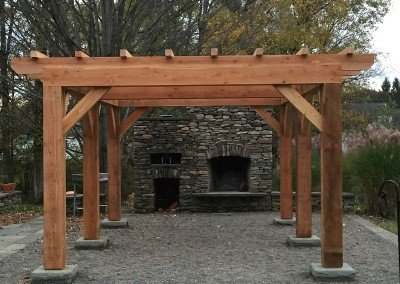 Pergola with Stone Outdoor Fireplace