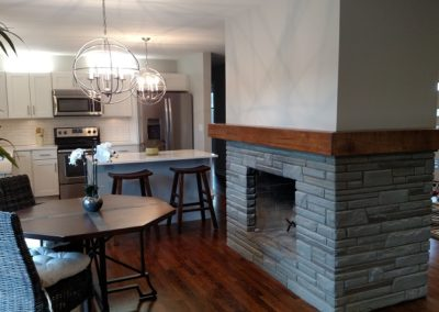 Breakfast table with fireplace